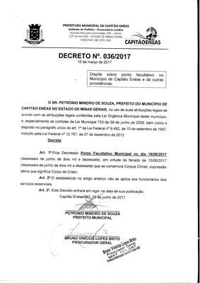 Decreto Executivo Nº 36/2017
