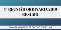 4ª Reunião Ordinária da Câmara Municipal - Resumo